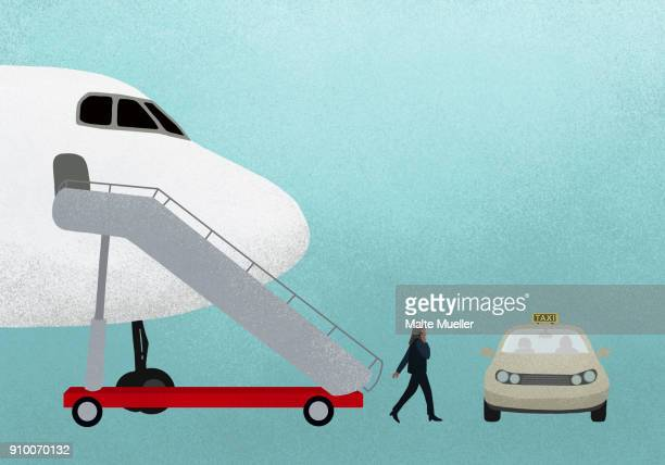 Illustration of businesswoman walking from airplane to taxi against blue background