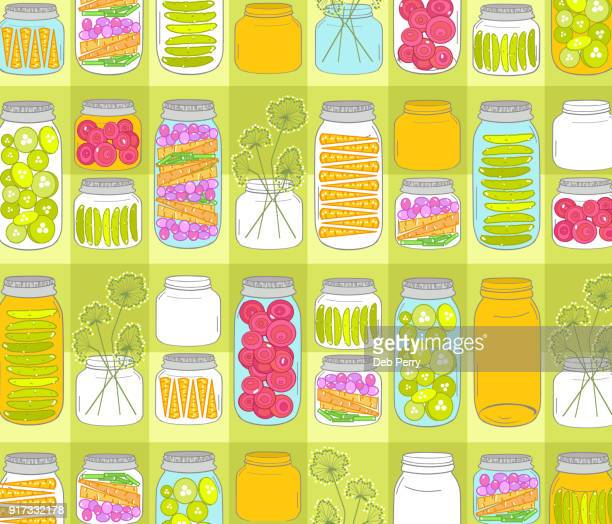 illustration of canning jars - cooking illustrations stock pictures, royalty-free photos & images