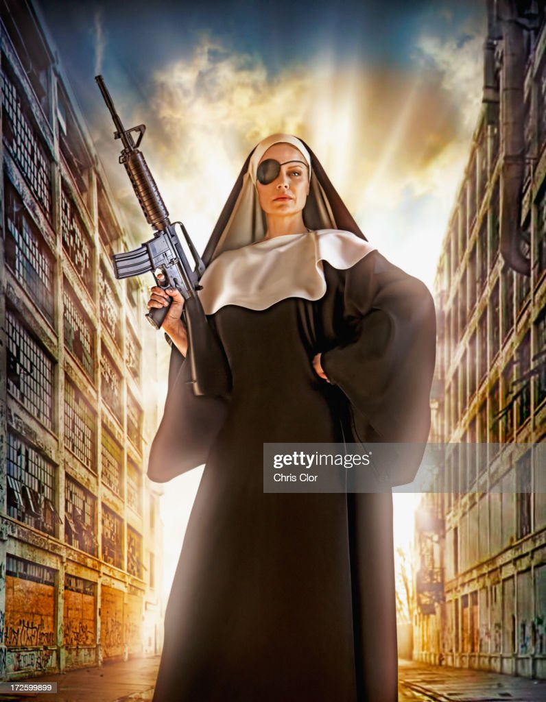Illustration of Caucasian nun with eye patch and machine gun : Stock Photo
