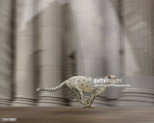 Illustration of cheetah covered in money running near pillars