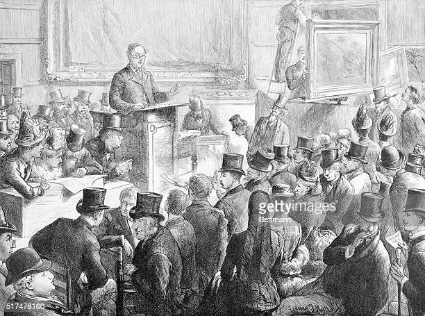 """Illustration of Christies Auction House """"A Great Picture At Christies,"""" September 1887. By Artist Sydney P. Hall."""