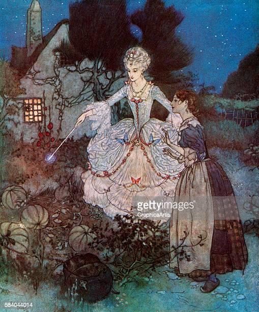 Illustration of Cinderella's fairy godmother transforming a pumpkin into a royal coach 1911 Screen print