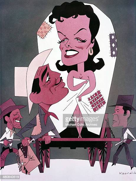 A illustration of Clark Gable and Jane Russell for the 20th Century Fox movie The Tall Men circa 1955