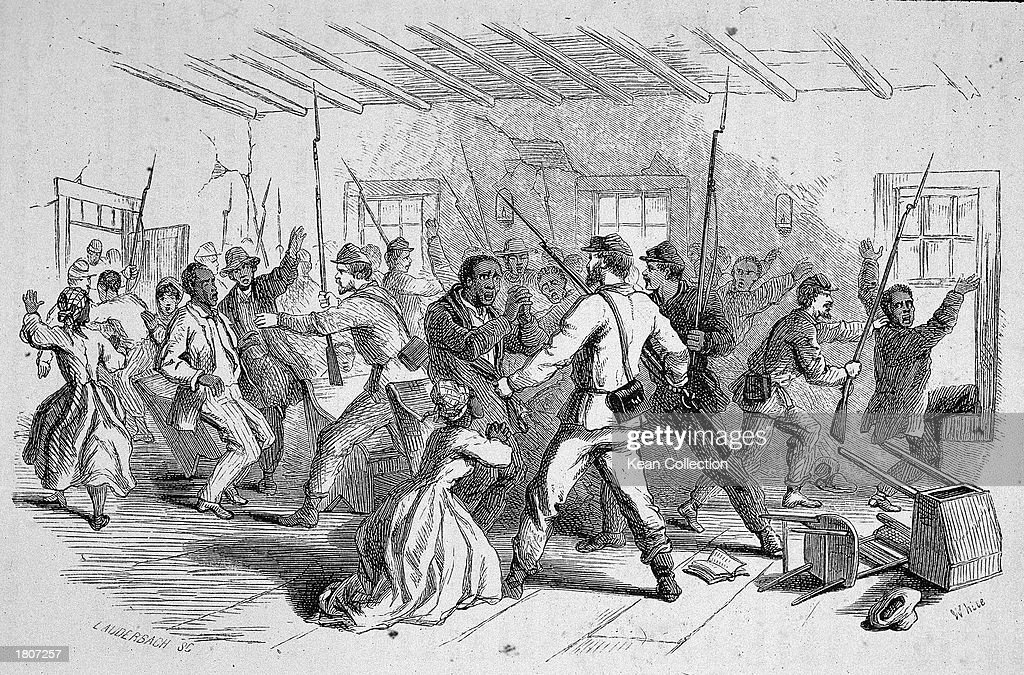 Illustration of Confederate soldiers rounding up Black people in a church during the American Civil War, Nashville, Tennesee, 1860s.