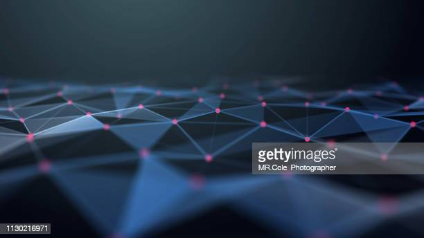 illustration of connection polygonal space low poly futuristic digital abstract background for science and technology - atomic imagery stock pictures, royalty-free photos & images