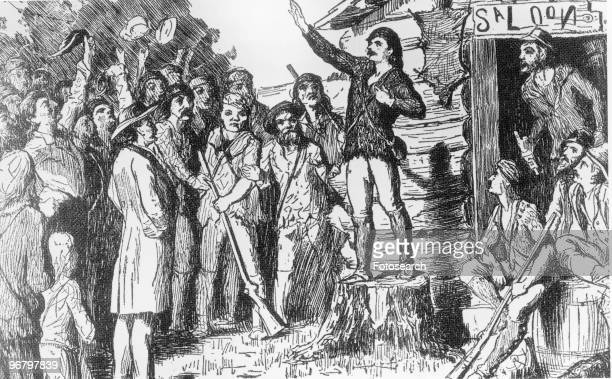 Illustration of Davy Crockett campaigning for the House of Representatives to a group of people circa 1800s