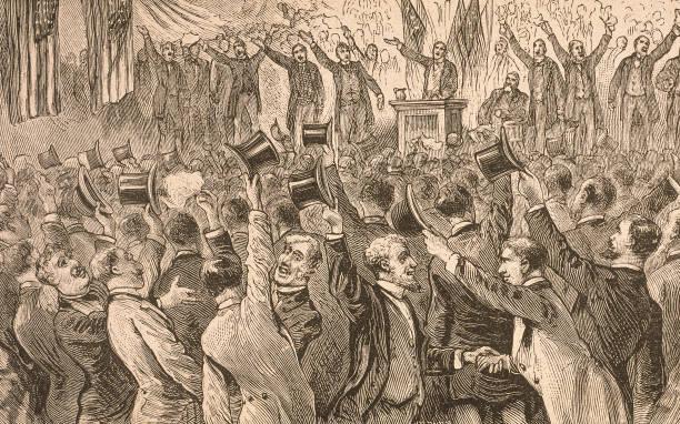 Illustration of delegates celebrating the nomination...