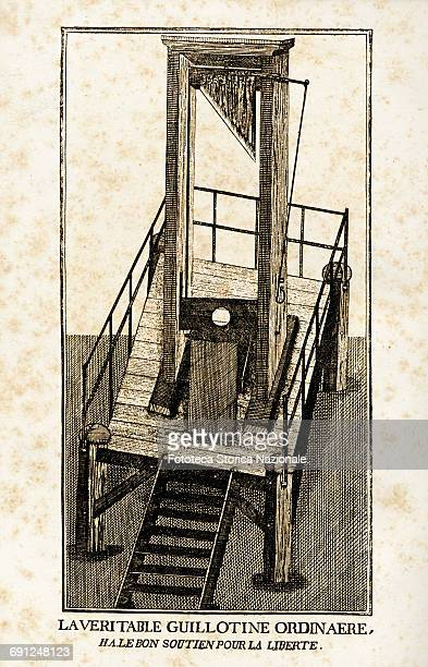 Illustration of depicting the instrument used for executions during the French Revolution Copperplate France approx 1850