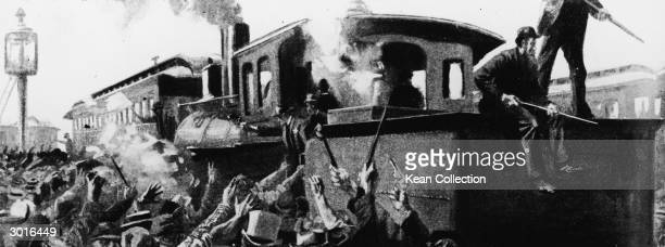 Illustration of deputies and officers trying to move a railway engine and car on the Chicago Rock Island and Pacific Railroad at Blue Island Illinois...