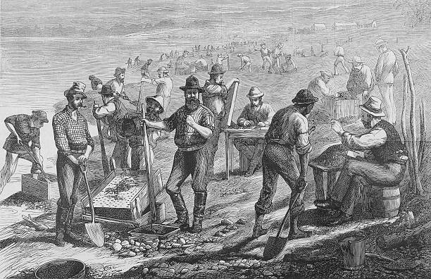 Illustration of diamond miners in South Africa used...