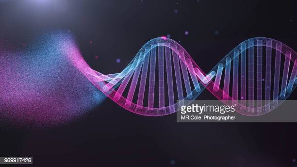 illustration of dna  futuristic digital abstract  background for science and technology - molecules stock photos and pictures