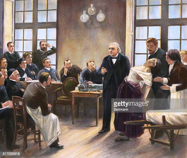 Illustration of Dr JeanMartin Charcot giving a clinical lecture on the symptoms of hysteria at the Salpetriere | Version of 'A Clinical Lesson at the...