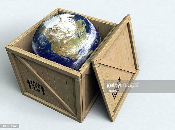 Illustration of Earth inside a wooden box with the top off