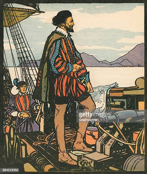 Illustration of English explorer and privateer Sir Francis Drake 1931 Woodcut