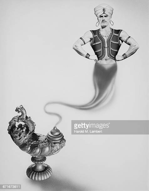 illustration of evil jinn and magic oil lamp  - lampara de aladino fotografías e imágenes de stock