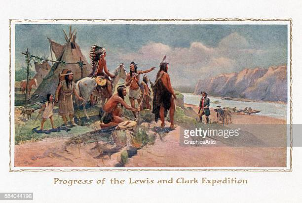 Illustration of explorers Lewis and Clark being greeted by Native Americans after crossing a river on the frontier 1914 Screen print