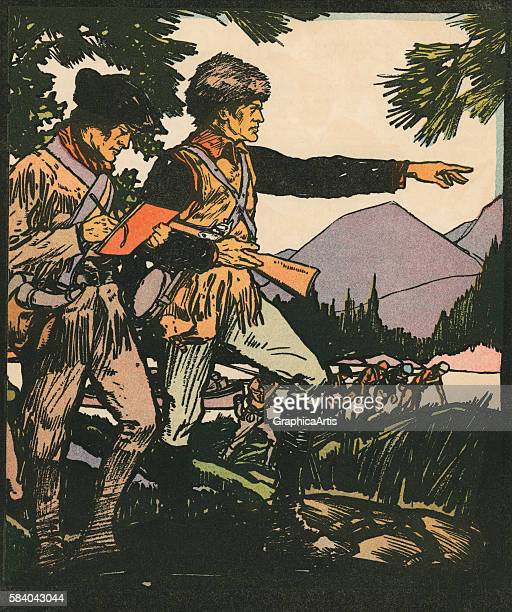 Illustration of explorers Lewis and Clark in the American frontier 1931 Woodcut