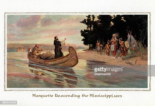 Illustration of Father Jacques Marquette greeting a Native American village while exploring the Mississippi River in 1673 1914 Screen print