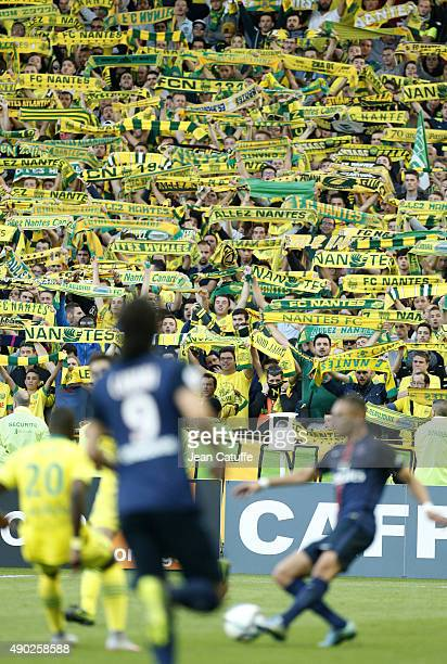 Illustration of FC Nantes supporters during the French Ligue 1 match between FC Nantes and Paris SaintGermain at Stade de la Beaujoire on September...