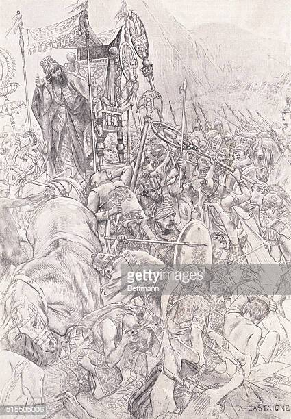Illustration of fighting near the chariot of Darius at Issus by A Castainge | Location Issus Turkey