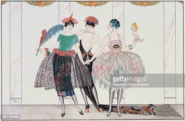 Illustration of Finely Dressed Women after Henri Riedel's The Beautiful Savages by Georges Barbier