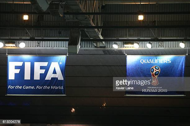 illustration of flag FIFA and Russia 2018 during the Qualifying Groupe A FIFA World Cup 2018 between France and Bulgaria at Stade de France on...
