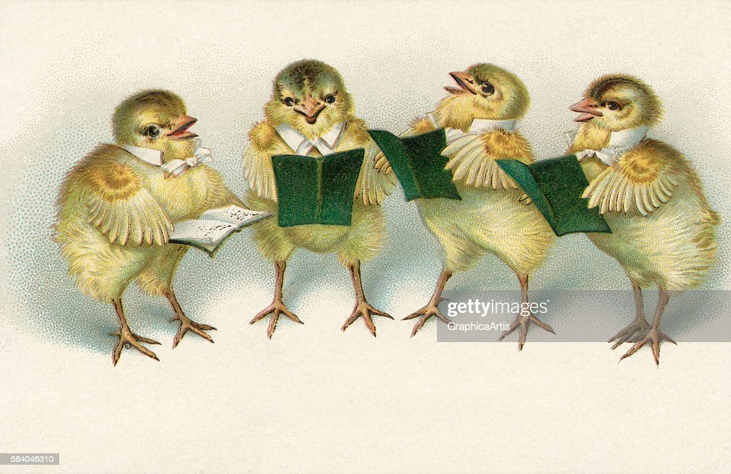 illustration of four baby chicks singing easter hymns from hymnals
