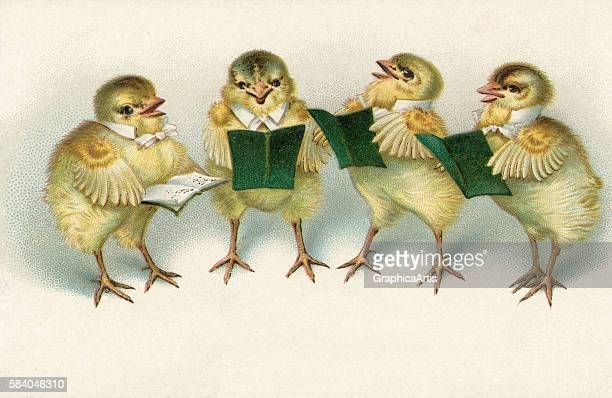 Illustration of four baby chicks singing Easter hymns from hymnals 1910 Chromolithograph