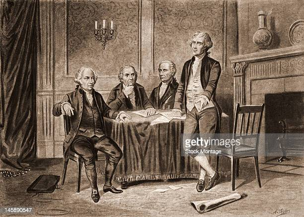 Illustration of four of the United States Foundign Fathers from left John Adams Robert Morris Alexander Hamilton and Thomas Jefferson 1774