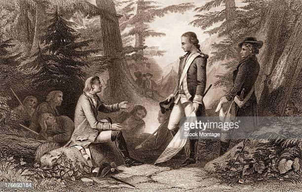 Illustration of Francis Marion , an American military officer nicknamed the 'Swamp Fox' , greets a British officer , mid to late 18th century. Marion...