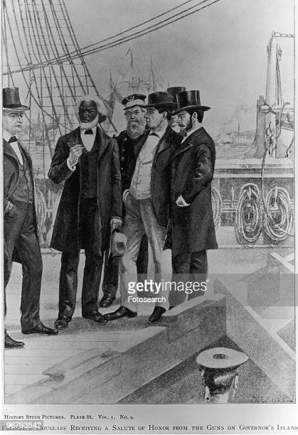 Illustration of Frederick Douglass with caption 'Frederick Douglass Receiving a Salute of Honor from the Guns of governor's Island', circa 1800s. .