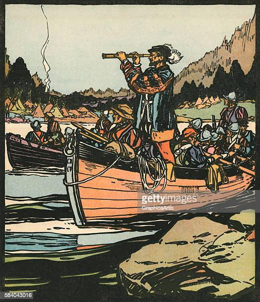 Illustration of French explorer Jacques Cartier on the Saint Lawrence River, 1931. Woodcut.