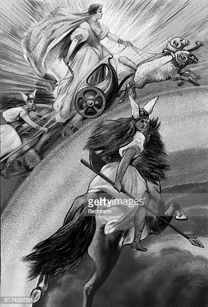 Illustration of Frigg wife of Wodin and Norse Mother Goddess as she is escorted by Valkyries in the sky Undated lithograph BPA2# 3252