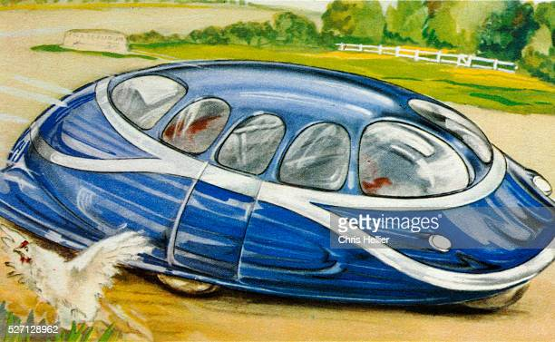 Illustration of futuristic car from the 1940s