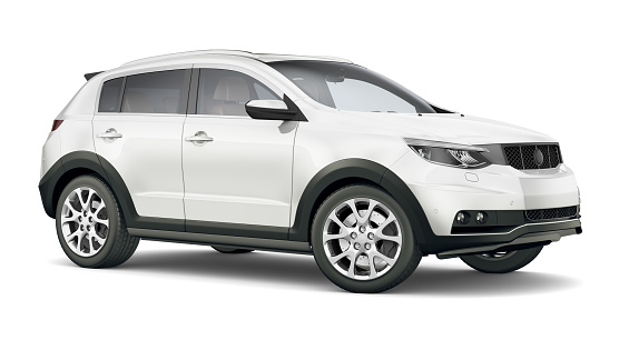 3D illustration of Generic Compact white SUV 959391798
