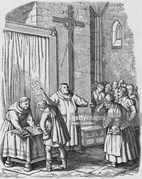Illustration of German Dominican preacher Johann Tetzel selling indulgences inside a church.