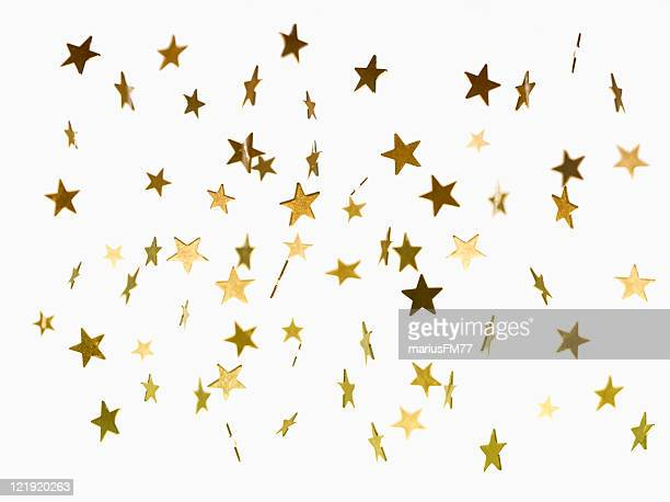illustration of golden stars falling background - gold star stock pictures, royalty-free photos & images