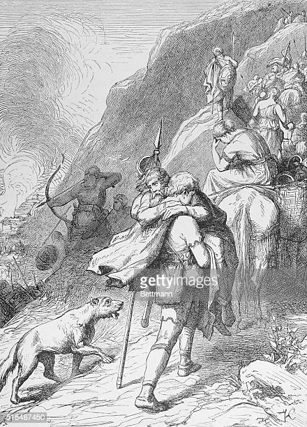 Illustration of Goths retreating into the Asturian Mountains, in what is now northwestern Spain. Undated illustration.