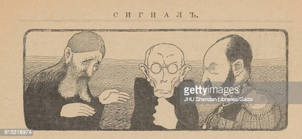 Illustration of Grigori Rasputin Konstantin Pobedonostsev and Tsar Nicholas II in conference from the Russian satirical publication Signaly 1905