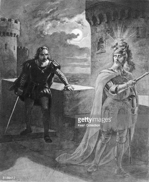 Illustration of Hamlet facing a ghost on a castle terrace in a scene from William Shakespeare's play 'Hamlet'