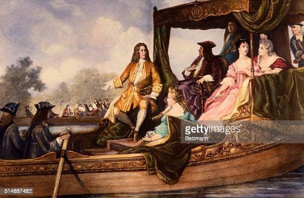 Illustration of Handel Presenting Water Music to King George I