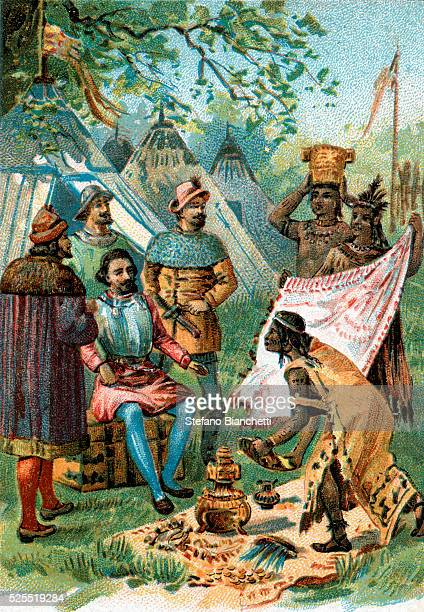 Illustration of Hernan Cortes Accepting Gifts from Montezuma