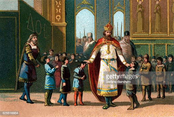 Illustration of Holy Roman Emperor Charlemagne who set up schools open to boys of different class backgrounds