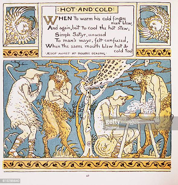 Illustration of Hot and Cold From Walter Crane's Baby's Own Aesop