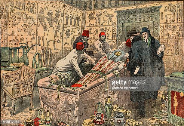 Illustration of Howard Carter and Lord Carnarvon in the Tomb of Tutankhamun