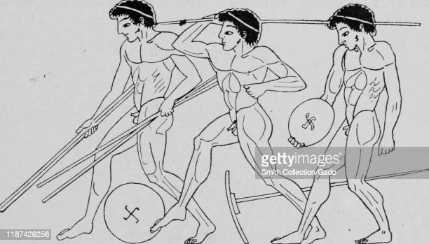 Illustration of javelin throwers participating in a sporting event, such as the Olympic Games, in ancient Greece, 1910. Courtesy Internet Archive.