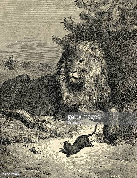Illustration of Jean de la Fontaine fable The Lion and the Rat Undated engraving
