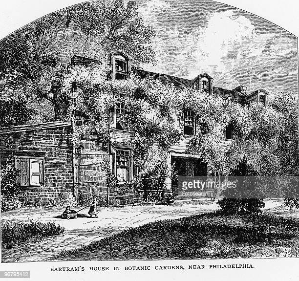 Illustration of John Bartram's home with caption 'BARTRAM'S HOUSE IN BOTANIC GARDENS NEAR PHILADELPHIA' circa 1820s