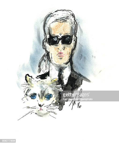 Illustration of Karl Lagerfeld with his cat Choupette is photographed for Madame Figaro on November 18 2015 in Paris France PUBLISHED IMAGE CREDIT...