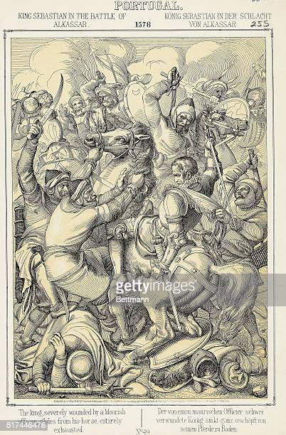 Illustration of King Sebastian fatally wounded at Alcazarquivir also known as Ksar el Kebir or Al Qasr al Kabir during a Portuguese crusade into...